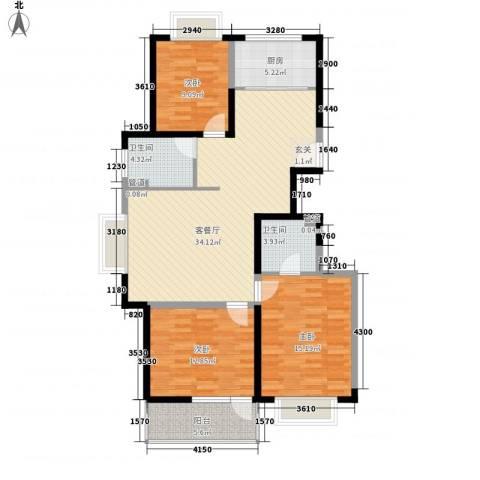 湖畔春天3室1厅2卫1厨102.60㎡户型图