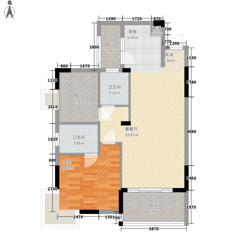 新长江顺心居84.00㎡1栋1、2、3座03-04户型1室2厅2卫1厨