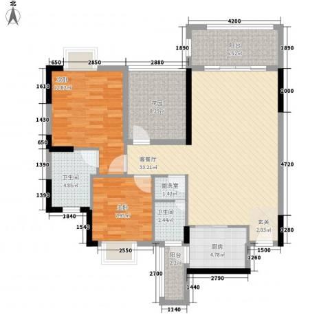 丰泽园2室1厅2卫1厨103.00㎡户型图
