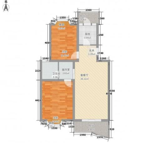龙山名府2室1厅1卫1厨100.00㎡户型图