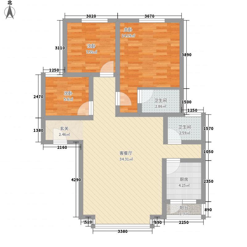 海棠名居106.50㎡海棠名居户型图户型图3室2厅2卫1厨户型3室2厅2卫1厨