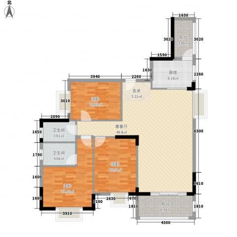 丰泽园3室1厅2卫1厨129.00㎡户型图