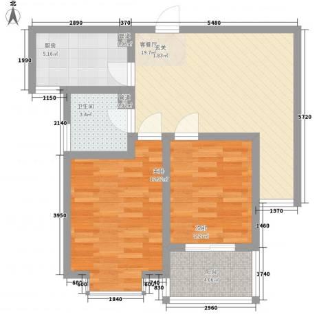 明德怡心居2室1厅1卫1厨64.00㎡户型图