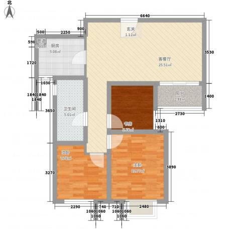 滨江国际商业广场3室1厅1卫1厨92.00㎡户型图