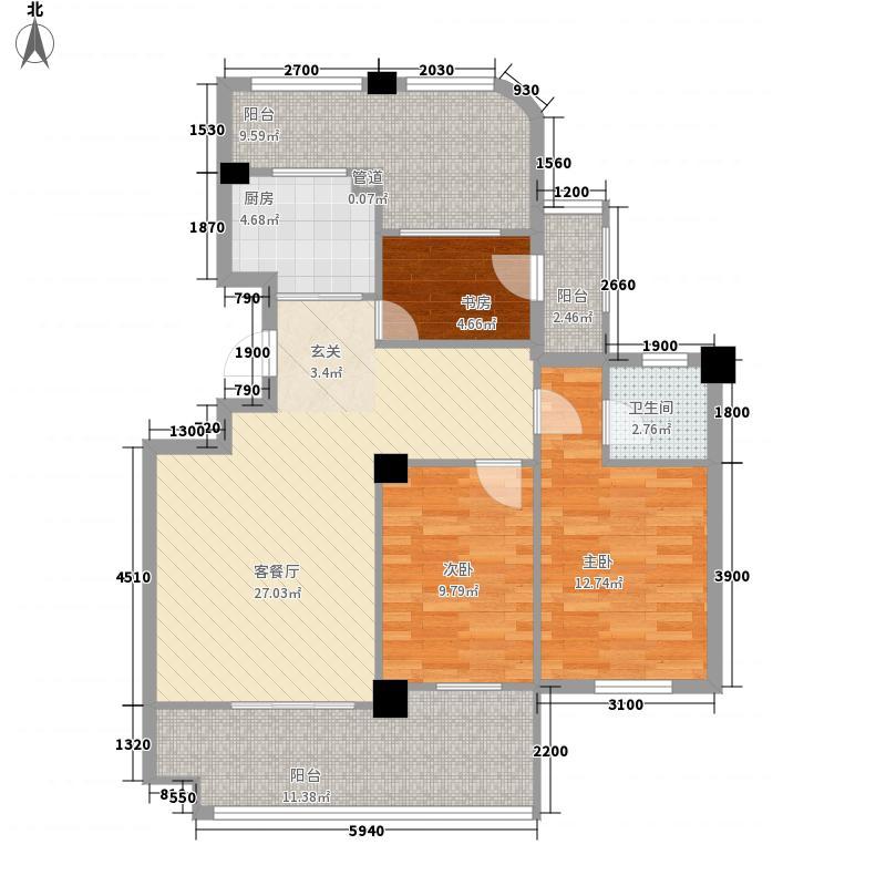 马江怡景湾107.00㎡马江怡景湾3室户型3室