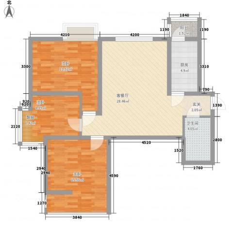 海荣豪佳花园3室1厅1卫1厨76.21㎡户型图