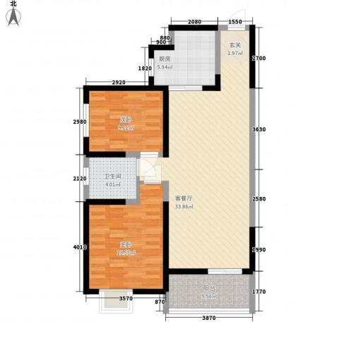 海荣豪佳花园2室1厅1卫1厨72.04㎡户型图