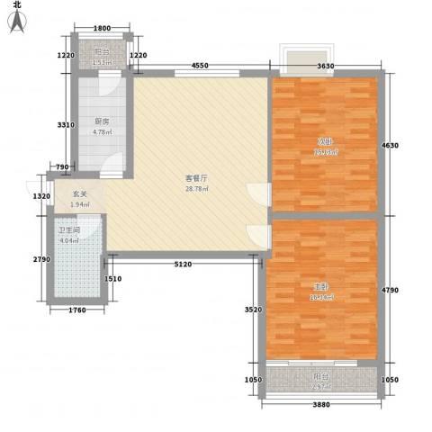 海荣豪佳花园2室1厅1卫1厨73.56㎡户型图