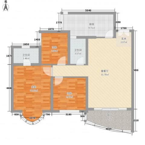 祈福新村倚湖湾3室1厅2卫1厨123.00㎡户型图