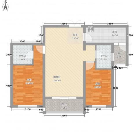 大唐天下江山2室1厅2卫1厨102.00㎡户型图