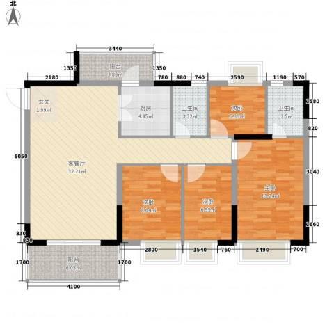 金田花园花域4室1厅2卫1厨124.00㎡户型图