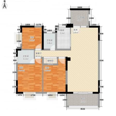 北大阳光3室1厅2卫1厨134.00㎡户型图
