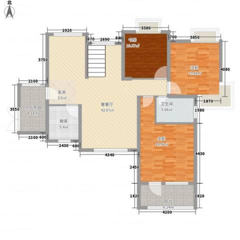 瑞泽源一里洋房3室1厅1卫1厨155.00㎡户型图