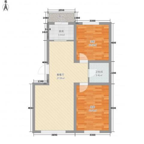博客地带2室1厅1卫1厨84.00㎡户型图
