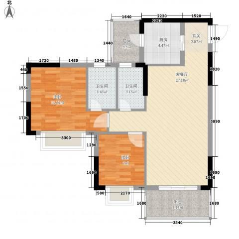 金田花园花域2室1厅2卫1厨80.00㎡户型图