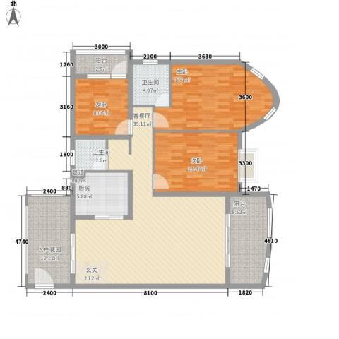 鸿景花园3室1厅2卫1厨137.00㎡户型图