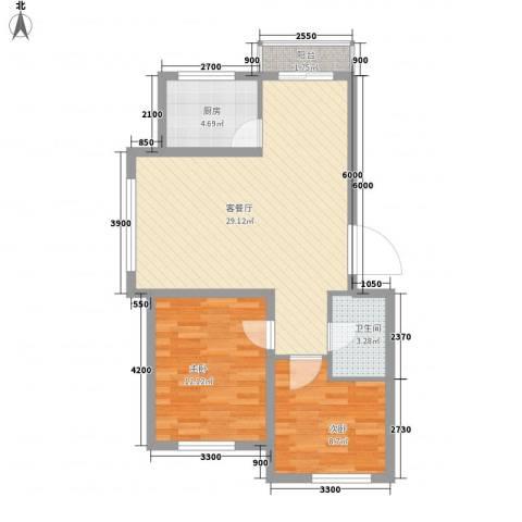 博客地带2室1厅1卫1厨80.00㎡户型图