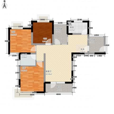 瑞泽源一里洋房3室1厅1卫1厨109.00㎡户型图