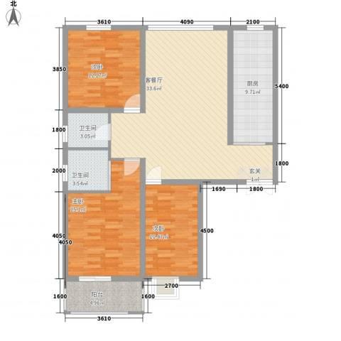 滨河城・左岸3室1厅2卫1厨104.73㎡户型图