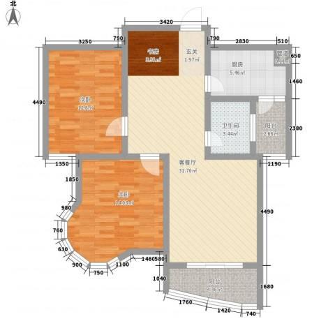 新港国际2室1厅1卫1厨108.00㎡户型图