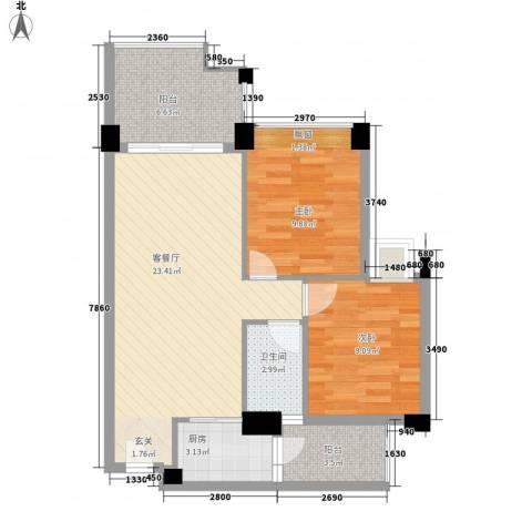 塞纳城市嘉园2室1厅1卫1厨82.00㎡户型图