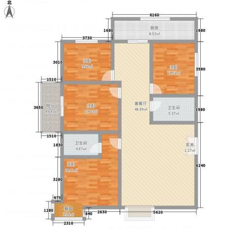 景泰花苑4室1厅2卫1厨173.00㎡户型图