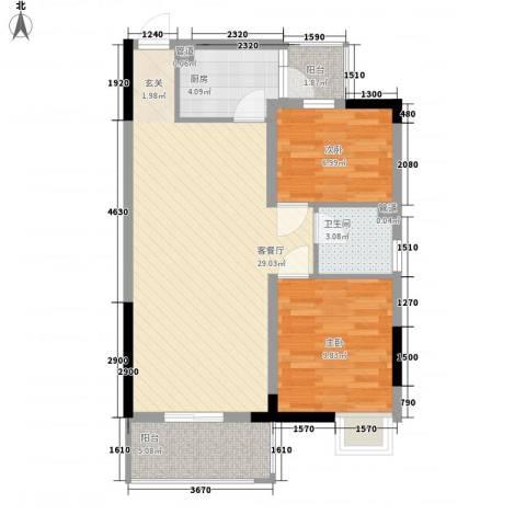 塘厦花园中心2室1厅1卫1厨240.00㎡户型图