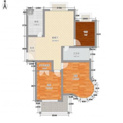 新港国际3室1厅1卫1厨107.00㎡户型图
