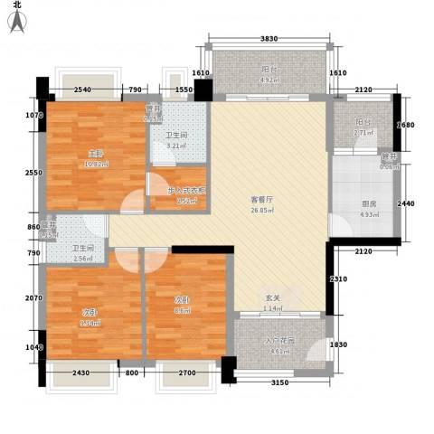 联华花园城二期3室1厅2卫1厨118.00㎡户型图