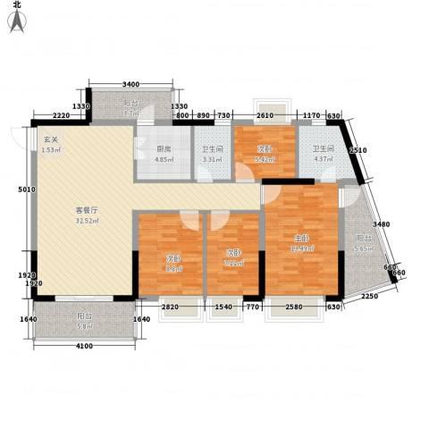 金田花园花域4室1厅2卫1厨115.00㎡户型图