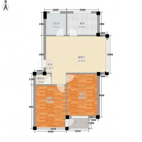 金润花园三期2室1厅1卫1厨77.00㎡户型图
