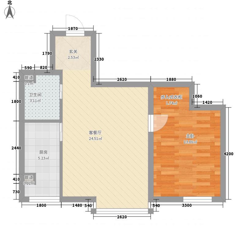 博客地带66.60㎡博客地带户型图二期一梯七户1室2厅1卫户型1室2厅1卫