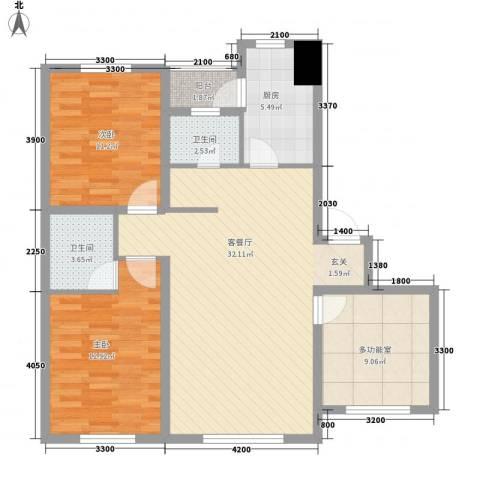 博客地带2室1厅2卫1厨101.00㎡户型图