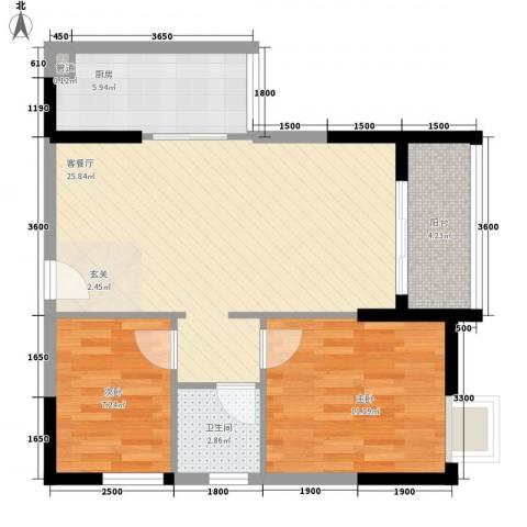 鑫润花园领会写字楼2室1厅1卫1厨89.00㎡户型图