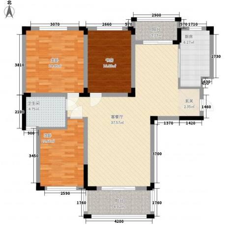 明德怡心居3室1厅1卫1厨107.05㎡户型图