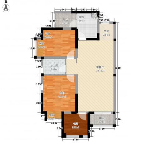 滨江国际商业广场3室1厅1卫1厨110.00㎡户型图