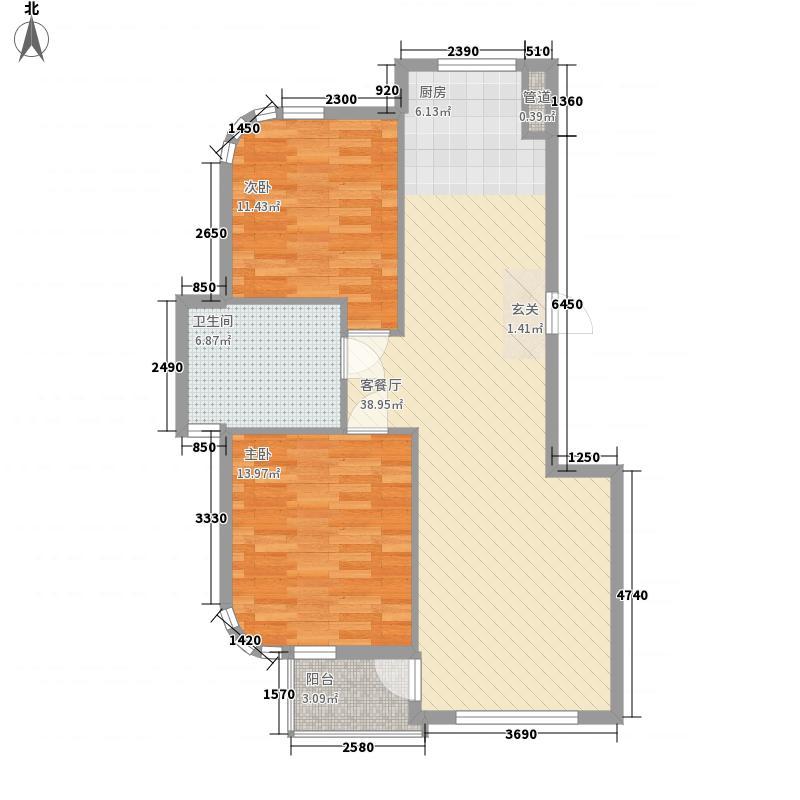水岸花都94.95㎡水岸花都户型图94.95平户型2室2厅1卫1厨户型2室2厅1卫1厨