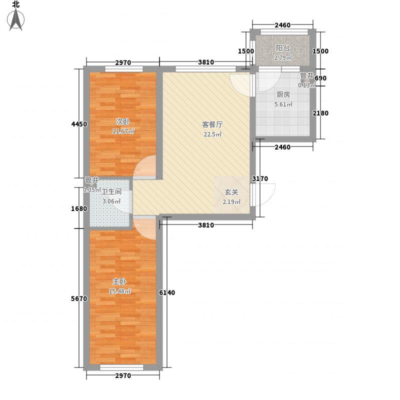东方玫瑰园59.21㎡高层户型2室1厅1卫1厨