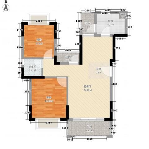 风临美丽湾2室1厅1卫1厨88.00㎡户型图
