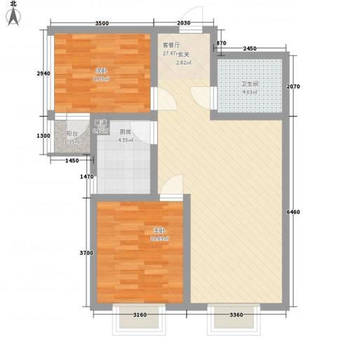 西市佳园2室1厅1卫1厨82.00㎡户型图