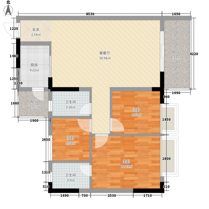 金田花园花域93.00㎡金田花园花域户型图18栋标准层C1-C5户型3室2厅2卫1厨户型3室2厅2卫1厨