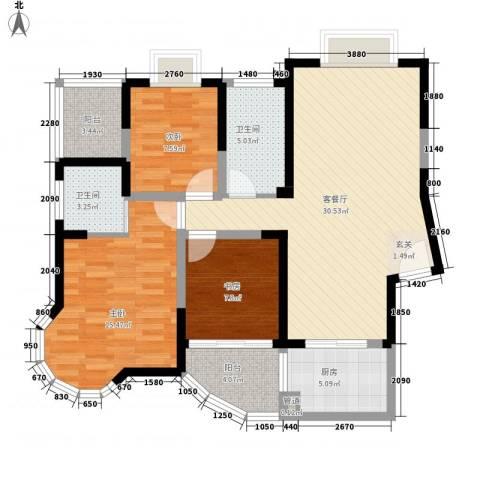 新港国际3室1厅2卫1厨120.00㎡户型图