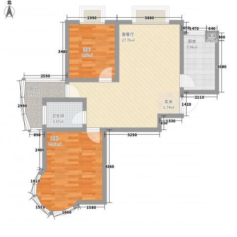 新港国际2室1厅1卫1厨95.00㎡户型图