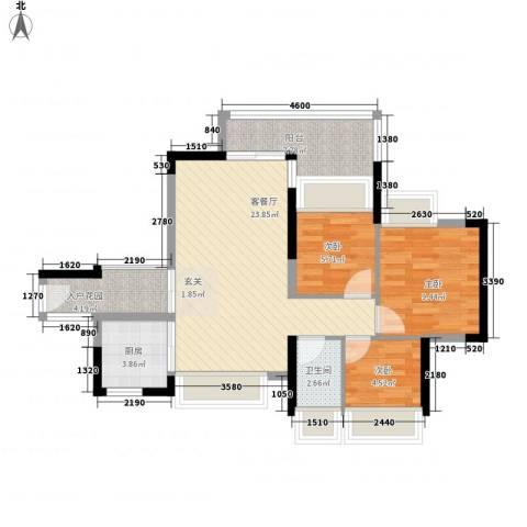 万科天景花园3室1厅1卫1厨90.00㎡户型图