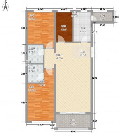 大唐天下江山3室1厅2卫1厨131.00㎡户型图