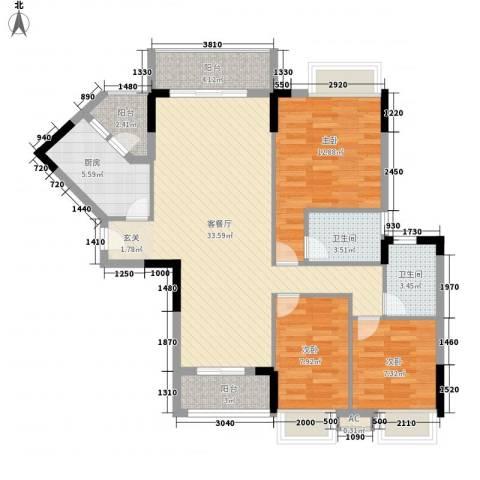 保利壹号公馆3室1厅2卫1厨120.00㎡户型图