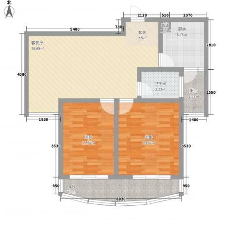 新港国际2室1厅1卫1厨104.00㎡户型图