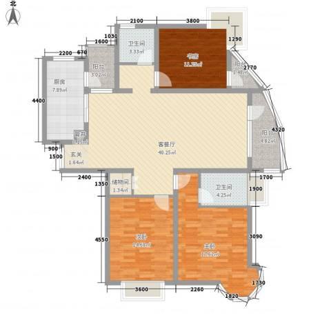 亚辰景院3室1厅2卫1厨126.04㎡户型图