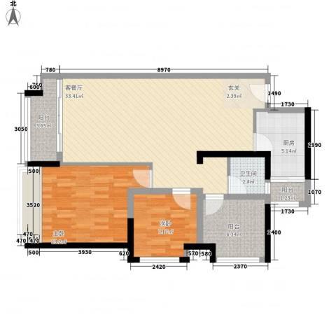 宏发上域2室1厅1卫1厨84.00㎡户型图