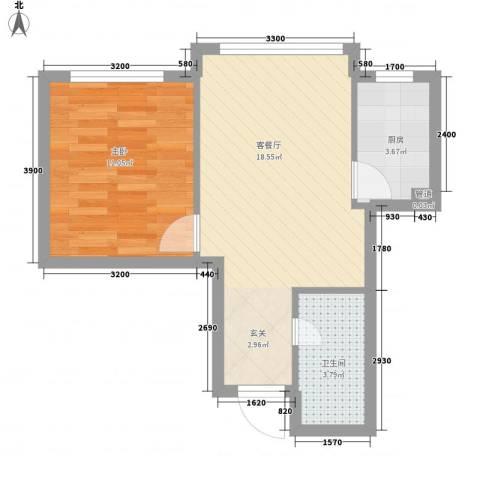 博客地带1室1厅1卫1厨51.00㎡户型图